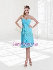 Empire Sweetheart Ruching Knee Length 2015 Baby Blue Dama Dresses