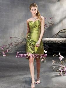 New Arrival Taffeta Short Dama Dress with Ruffled Hem