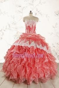 2015 Fashionable Strapless Watermelon Quinceanera Dresses