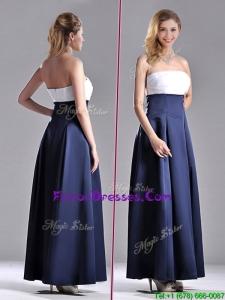 Elegant Strapless Ankle Length Prom Dress in Navy Blue and White
