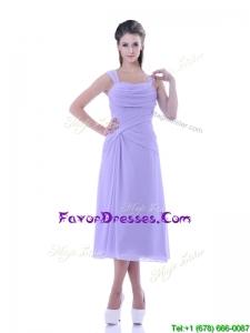 Fashionable Lavender Empire Square Prom Dress in Tea Length