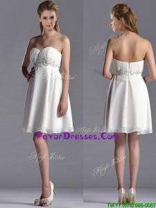 Beautiful Beaded Decorated Waist Chiffon Prom Dress in White