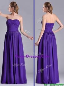 Beautiful Empire Ruched Chiffon Long Prom Dress in Purple