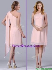 Cheap One Shoulder Chiffon Ruching Short Prom Dress in Pink
