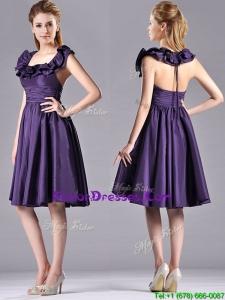 Elegant Halter Top Backless Short Prom Dress in Dark Purple