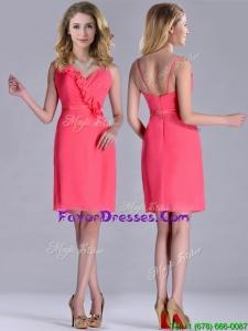 Popular V Neck Zipper Up Short Prom Dress in Coral Red
