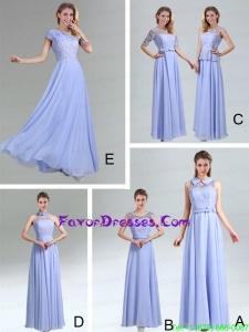 2015 Modest Belt Empire Prom Dress in Lavender