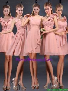 2015 Ruching Chiffon Prom Dresses in Peach