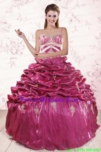 2015 Pretty Appliques Quinceanera Dresses with Spaghetti Straps