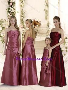 Cheap Empire Ruched Long Bridesmaid Dresses in Taffeta