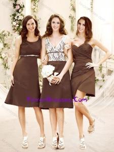 Elegant Empire Taffeta Brown Bridesmaid Dress in Knee Length