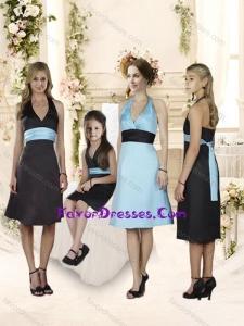 Fashionable Halter Top Knee Length Bridesmaid Dress with Sashes