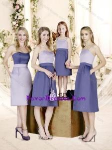 Romantic Empire Knee Length Bridesmaid Dress with Belt