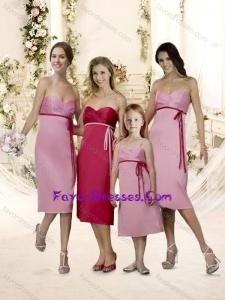 PopularTea Length Belt Bridesmaid Dress with Empire