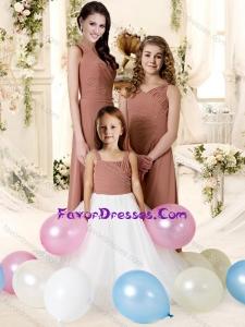 Popular Spaghetti Strap Chiffon Bridesmaid Dress with Ruffles