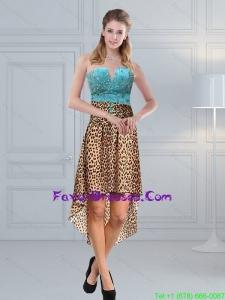 Unique Beading Leopard Printed 2015 Prom Dresses in Aqua Blue