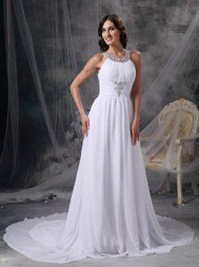 Elegant Empire Scoop Chiffon Wedding Dress with Beading and Ruching