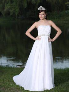 Strapless Long Empire Chiffon Wedding Dress With Sweep Train