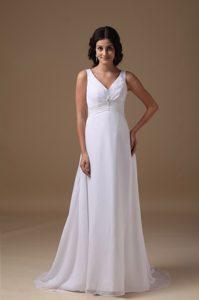 Lovely Empire V-neck Chiffon Wedding Dress with Beading