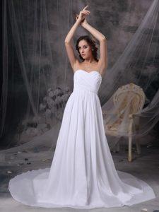 White Empire Sweetheart Court Train Chiffon Wedding Dress with Ruching