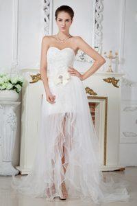 Gorgeous Empire Sweetheart Court Train Organza Beaded Wedding Dress