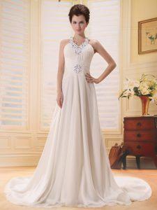 Beaded V-neck Empire Chiffon Buttons Stylish Wedding Dress with Court Train