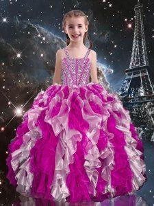 Nice Straps Sleeveless Girls Pageant Dresses Floor Length Beading and Ruffles Fuchsia Organza