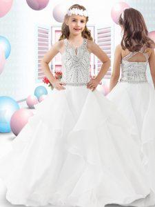Latest Beading and Ruffles Kids Formal Wear White Zipper Sleeveless Floor Length