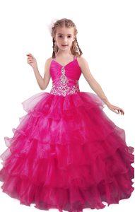 Wonderful Floor Length Fuchsia Child Pageant Dress V-neck Sleeveless Zipper