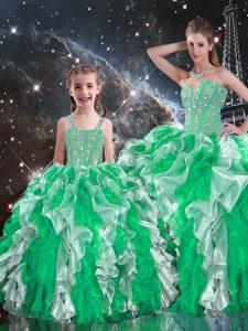 Romantic Beading and Ruffles Vestidos de Quinceanera Multi-color Lace Up Sleeveless Floor Length