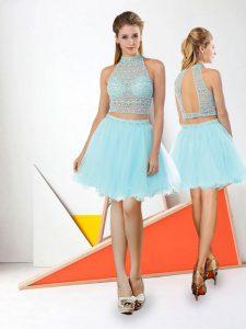 Stunning Aqua Blue Backless High-neck Beading Evening Dress Tulle Sleeveless