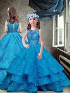 Nice Sleeveless Brush Train Zipper Lace and Ruffled Layers Little Girls Pageant Dress