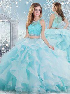 Scoop Sleeveless Clasp Handle Ball Gown Prom Dress Aqua Blue Organza