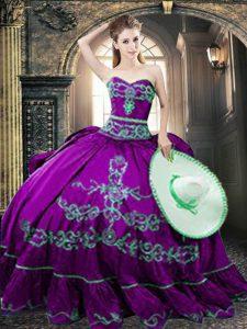 Luxury Floor Length Purple Sweet 16 Dress Taffeta Sleeveless Embroidery