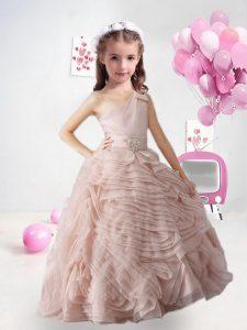 Peach A-line Organza One Shoulder Sleeveless Appliques Floor Length Zipper Little Girls Pageant Gowns