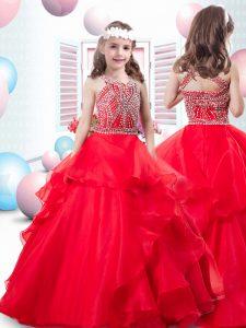 Organza Sleeveless Floor Length Glitz Pageant Dress and Beading and Ruffles
