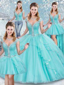 Aqua Blue V-neck Lace Up Sequins Quinceanera Dress Sleeveless