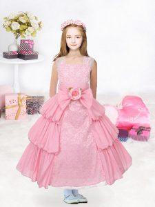 Organza Sleeveless Tea Length Pageant Dress and Ruffled Layers