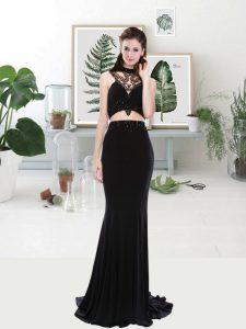 Two Pieces Sleeveless Black Prom Dress Brush Train Zipper