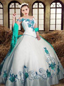 Fantastic Floor Length White 15th Birthday Dress Taffeta Sleeveless Embroidery