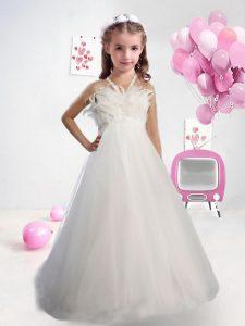 Halter Top Sleeveless Tulle Girls Pageant Dresses Sashes ribbons Zipper