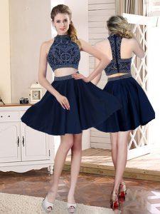 Cute Navy Blue High-neck Zipper Beading and Appliques Wedding Dress Sleeveless