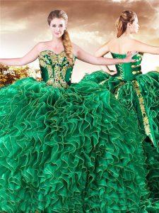Sweetheart Sleeveless 15th Birthday Dress Brush Train Beading and Ruffles Dark Green Organza