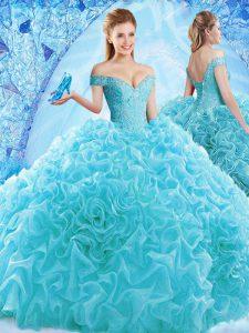 Glittering Aqua Blue Lace Up 15th Birthday Dress Ruffles and Pick Ups Cap Sleeves Brush Train