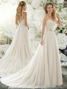 Pretty Beading and Lace Wedding Dresses White Clasp Handle Sleeveless Brush Train