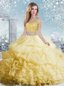 Yellow Sleeveless Floor Length Beading and Ruffles and Pick Ups Clasp Handle Vestidos de Quinceanera