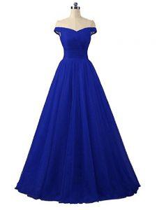 Latest Ruching Celebrity Prom Dress Royal Blue Lace Up Sleeveless Floor Length