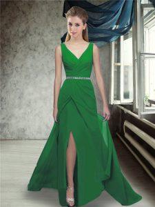 V-neck Sleeveless Brush Train Zipper Wedding Guest Dresses Green Chiffon