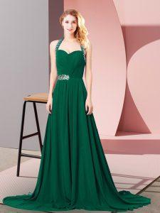 Empire Sleeveless Dark Green Celebrity Prom Dress Brush Train Zipper