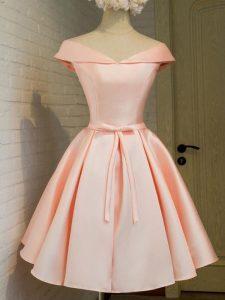 Peach A-line Taffeta Off The Shoulder Cap Sleeves Belt Knee Length Lace Up Quinceanera Dama Dress